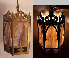 Large Antique 1930s Arts & Crafts Brass & Slag Glass Hanging Foyer Fixture Light