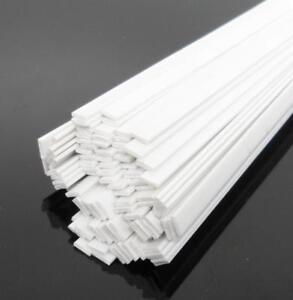 """US Stock Pack of 10 ABS Styrene Plastic Flat Rectangular Bars 1*4mm 9.8"""" White"""