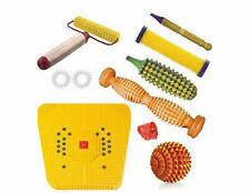 Wooden Foot Roller Acupressure Magnetic Stress Mat Combo Kit @UK