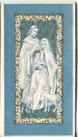 VINTAGE CHRISTMAS WHITE BLUE GOLD LAMB MARY JOSEPH CHRIST EMBOSSED GREETING CARD