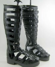 "new Black Straps 2""Block Low Heel Summer Gladiator sexy knee sandal Size 7.5"