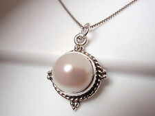 Cultured Pearl Necklace 925 Sterling Silver w/ Rope Style Accents