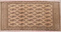 Geometric 2x3 PEACH Bokhara Turkoman Pakistan Oriental Foyer Rug Hand-made WOOL
