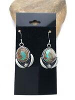 "Gift Sale Navajo Turquoise #8 Sterling Silver Dangle Earrings Set 1"" 3138"