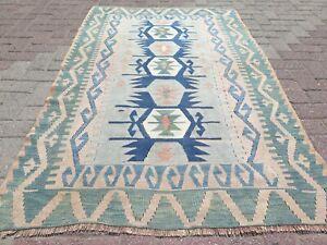 "Blue Turkish Small Kilim, Door Mat, Bathmat, Small Rugs, Carpet, Tapis 45""X70"""