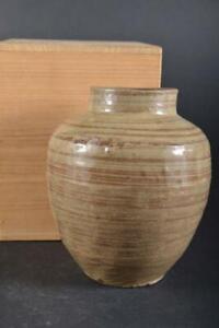 #49: Japan Old Karatsu-ware White glaze FLOWER VASE Ikebana w/box Tea Ceremony