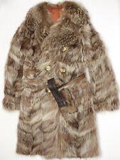 VTG Atelier G Hiebler Mens Coyote Fur Coat 36 Double Breasted Belted France