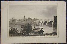 KOBLENZ - Ansicht über die Mosel. Originaler Stahlstich 1838