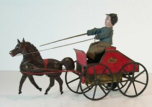 1870s IVES BLAKESLEE CLOCKWORK WIND UP CUZNER TROTTER TOY FANTASTIC CONDITION