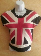 SEXY COOL UNION JACK BRITISH FLAG CROPPED SWEATER SHELL TOP PARTY CLUB CRUISE