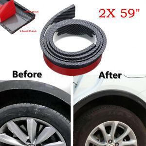 2x 6.5cm Wide Carbon Fibre Look Fender Flares Wheel Arch Strip Trims For Car SUV