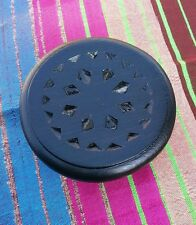 Moroccan Style Hand Carved Wooden Display Table Plant Stand X Small Black