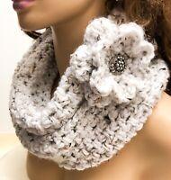 Serene Scarf Infinity Cowl Neck Warmer Handmade Knit Flower Pin White Crochet