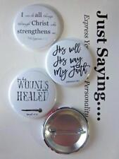 Christian Theme 3-pk Novelty Buttons/Pins: His Will, His Way, My Faith.