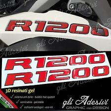 2 Adesivi Serbatoio Moto BMW R 1200 gs adventure LC 245 x 25 cm 3D ROSSO NERO