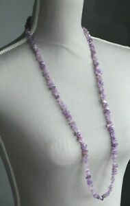 """AMETHYST LONG LINE NECKLACE 35"""" LENGTH (FEBRUARY'S BIRTHSTONE)"""