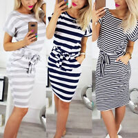 Women Short Sleeve Slim Bodycon Midi Dress Summer Stripe Casual Waist Belt Dress