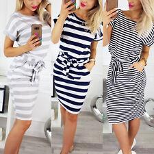 Womens Short Sleeve Bodycon Midi Dress Ladies Summer Striped Dress Size 8-18