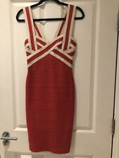 Herve Leger Red And Beige Contrast Bandage Bodycon Dress Size S