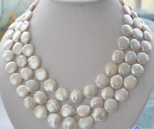 """Charming 10-11mm white coin freshwater pearl necklace 48"""" JN1029"""