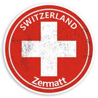 2 x 10cm Zermatt Switzerland Vinyl Stickers Swiss Flag Luggage Sticker #30259