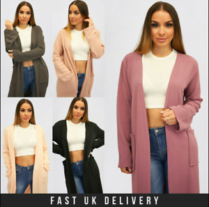 New UK Womens Ladies Long Sleeve Side Pocket Maxi Length Kimono Sizes S/M - XXL