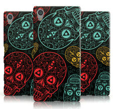 NEW BOLD RED AND TEAL DETAIL SUGARSKULL PRINT PHONE CASE COVER FOR SONY XPERIA