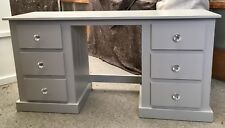 AYLESBURY 6 DRAWER DOUBLE DRESSING TABLE GREY WITH CHRYSTAL HANDLES