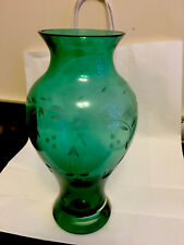 More details for modern emerald green glass etched mistletoe vase 10 inches (25cm) tall
