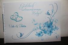 Gästebuch zur Hochzeit , blau türkis