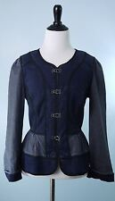 DAUGHTERS OF THE LIBERATION $178 Blue Denim Black Trim Long Sleeve Jacket Size 4