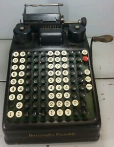 Vintage BURROUGHS Portable Mechanical Adding Machine - In Good Condition