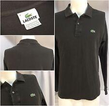 Lacoste Alligator Long Sleeve Polo Shirt M Brown 100% Cotton EUC Sz 4 YGI 3535