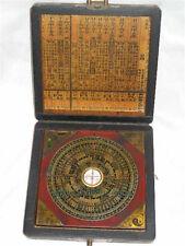 Asie chinois artisanat,Fengshui laiton boussole,+dragon phénix boite en bois