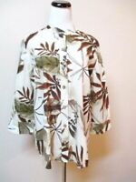 ADDITIONS BY CHICO'S, SZ 2, L, BROWN & BEIGE TROPICAL PRINT BUTTON FRONT BLOUSE