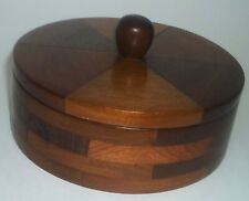 50s Vintage Handmade Inlay Wood Round Trinket Box Signed Dated Kneasel 1953