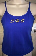 BODY WRAPPERS Womans Size S Stretchy Blue Performance Cami Top w/Shelf Bra Liner