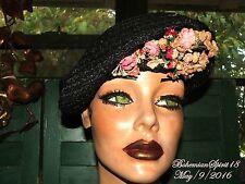 Antique Vintage Unique 1940's Black Straw With Pink Flowers Sz M Good Con Hat
