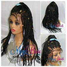 "13"" by 4"" Lace Front Closure Black Wig Braided Wigs Box Braids Long Handmade"