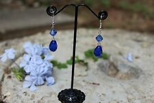Handmade 925 sterling silver womens blue drop faceted crystals dangle earrings