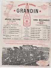 rare buvard sur le champagne maison GRANDIN ÉPERNAY 51 MARNE ( ref 7 )