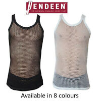 Original Pendeen Mens Premium 100% Cotton Mesh Fishnet String Vest Top T