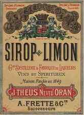 """SIROP DE LIMON J. THEUS Neveu ORAN"" Etiquette-chromo originale fin 1800"
