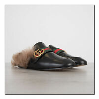 GUCCI 995$ Authentic New Black Princetown Leather Slipper With Double G