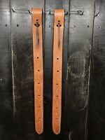 Rear Billet (Flank Strap) Set- Light Oil -Harness Leather Double Stitched (New)