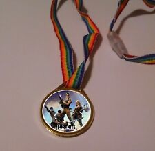 12ct~ FORT NITE RAINBOW MEDALS NECKLACES, birthday party favors FORT NIGHT