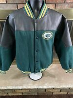 Vintage Green Bay Packers NFL Football Leather Letterman Jacket Mens Size XL Vtg
