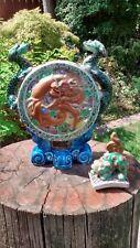 Chinese Incense Burner Dragons and Foo Dog Majolica Pottery