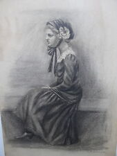 Framed Charcoal Drawing - Side View Of Girl Sitting - Ethel M. Gilmore