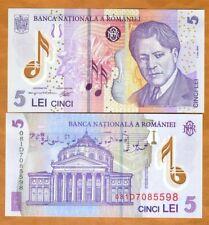 Romania, 5 Lei, 2005 (2008), POLYMER, P-118d, UNC > Composer George Enescu